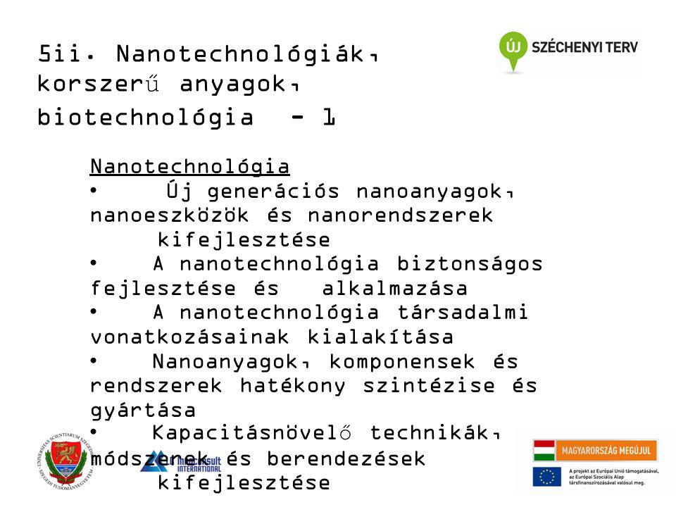 Nanotechnológia Új generációs nanoanyagok, nanoeszközök és nanorendszerek kifejlesztése A nanotechnológia biztonságos fejlesztése és alkalmazása A nanotechnológia társadalmi vonatkozásainak kialakítása Nanoanyagok, komponensek és rendszerek hatékony szintézise és gyártása Kapacitásnövelő technikák, módszerek és berendezések kifejlesztése 5ii.