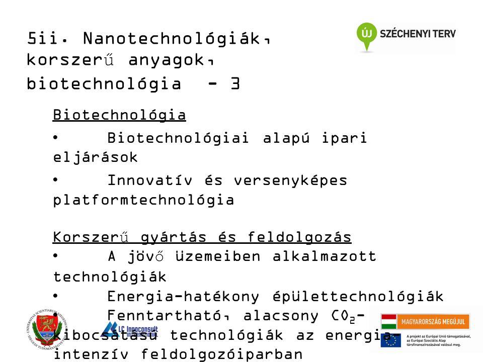Biotechnológia Biotechnológiai alapú ipari eljárások Innovatív és versenyképes platformtechnológia Korszerű gyártás és feldolgozás A jövő üzemeiben alkalmazott technológiák Energia-hatékony épülettechnológiák Fenntartható, alacsony CO 2 - kibocsátású technológiák az energia- intenzív feldolgozóiparban 5ii.