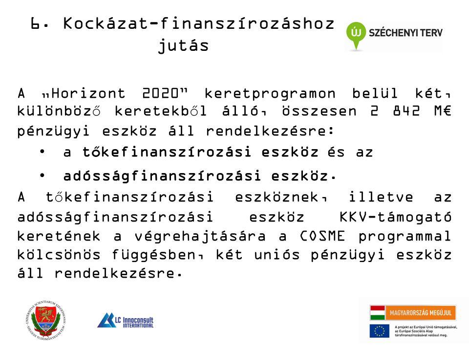 """A """"Horizont 2020 keretprogramon belül két, különböző keretekből álló, összesen 2 842 M€ pénzügyi eszköz áll rendelkezésre: a tőkefinanszírozási eszköz és az adósságfinanszírozási eszköz."""