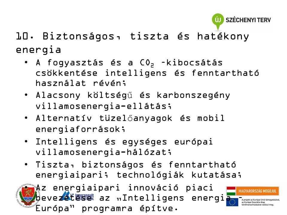 10. Biztonságos, tiszta és hatékony energia A fogyasztás és a CO 2 –kibocsátás csökkentése intelligens és fenntartható használat révén; Alacsony költs
