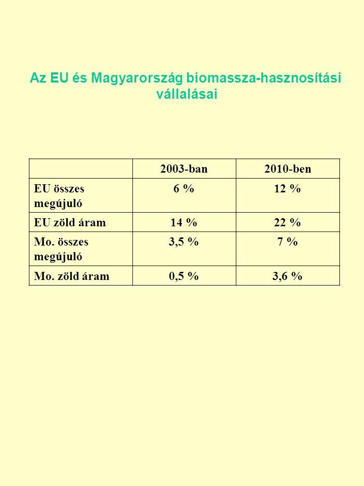 Az EU és Magyarország biomassza-hasznosítási vállalásai 2003-ban2010-ben EU összes megújuló 6 %12 % EU zöld áram14 %22 % Mo.