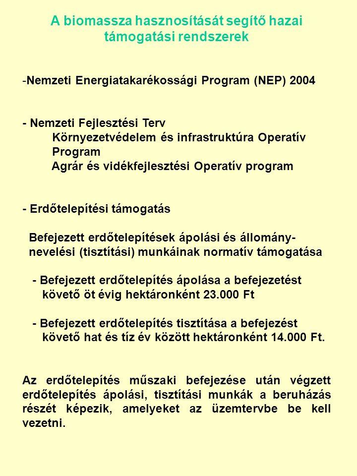 A biomassza hasznosítását segítő hazai támogatási rendszerek -Nemzeti Energiatakarékossági Program (NEP) 2004 - Nemzeti Fejlesztési Terv Környezetvédelem és infrastruktúra Operatív Program Agrár és vidékfejlesztési Operatív program - Erdőtelepítési támogatás Befejezett erdőtelepítések ápolási és állomány- nevelési (tisztítási) munkáinak normatív támogatása - Befejezett erdőtelepítés ápolása a befejezetést követő öt évig hektáronként 23.000 Ft - Befejezett erdőtelepítés tisztítása a befejezést követő hat és tíz év között hektáronként 14.000 Ft.