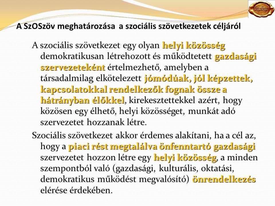 A SzOSzöv meghatározása a szociális szövetkezetek céljáról helyi közösség gazdasági szervezeteként jómódúak, jól képzettek, kapcsolatokkal rendelkezők fognak össze a hátrányban élőkkel A szociális szövetkezet egy olyan helyi közösség demokratikusan létrehozott és működtetett gazdasági szervezeteként értelmezhető, amelyben a társadalmilag elkötelezett jómódúak, jól képzettek, kapcsolatokkal rendelkezők fognak össze a hátrányban élőkkel, kirekesztettekkel azért, hogy közösen egy élhető, helyi közösséget, munkát adó szervezetet hozzanak létre.