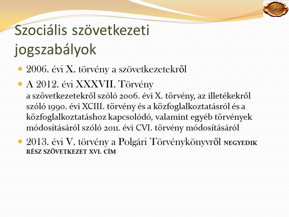Szociális szövetkezeti jogszabályok 2006. évi X. törvény a szövetkezetekr ő l A 2012.