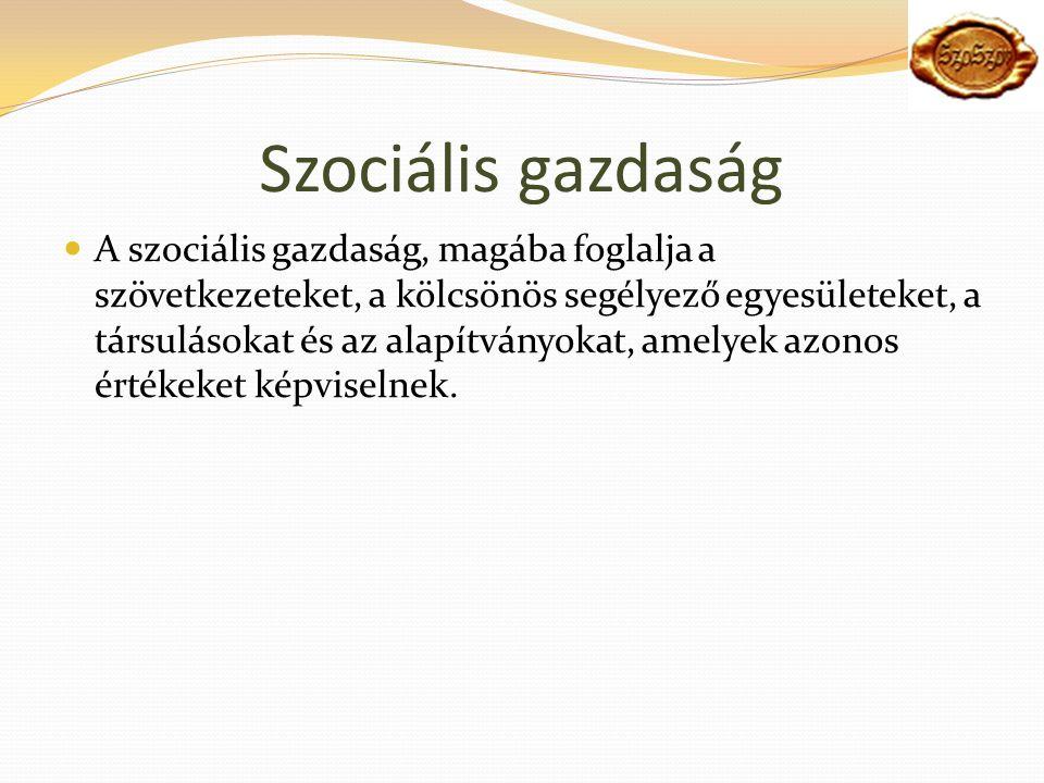 Szociális gazdaság A szociális gazdaság, magába foglalja a szövetkezeteket, a kölcsönös segélyező egyesületeket, a társulásokat és az alapítványokat, amelyek azonos értékeket képviselnek.