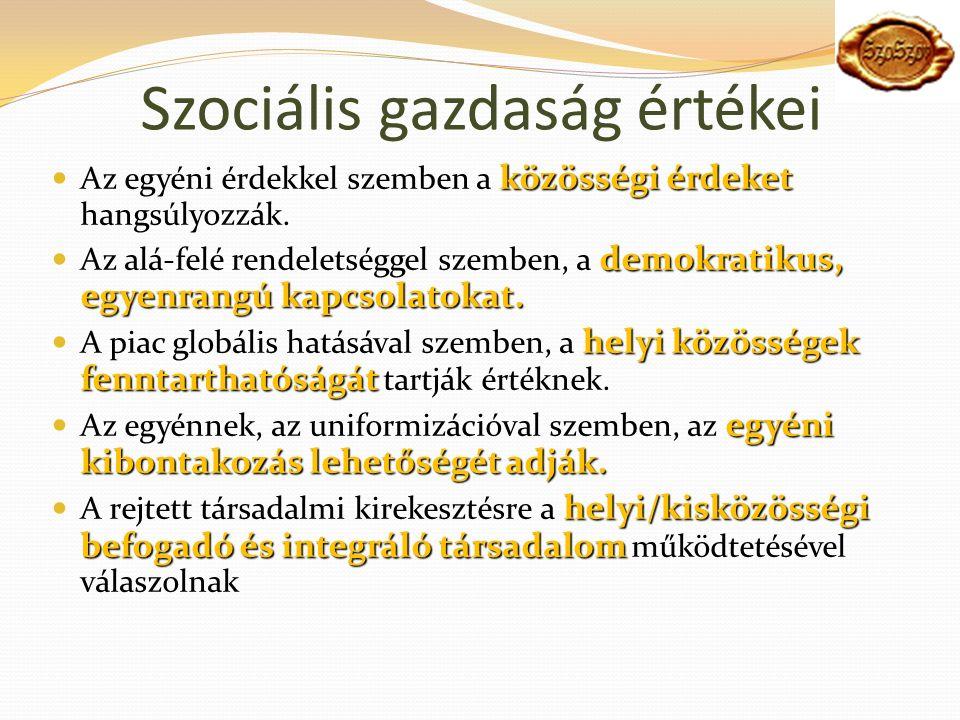 Szociális gazdaság értékei közösségi érdeket Az egyéni érdekkel szemben a közösségi érdeket hangsúlyozzák.