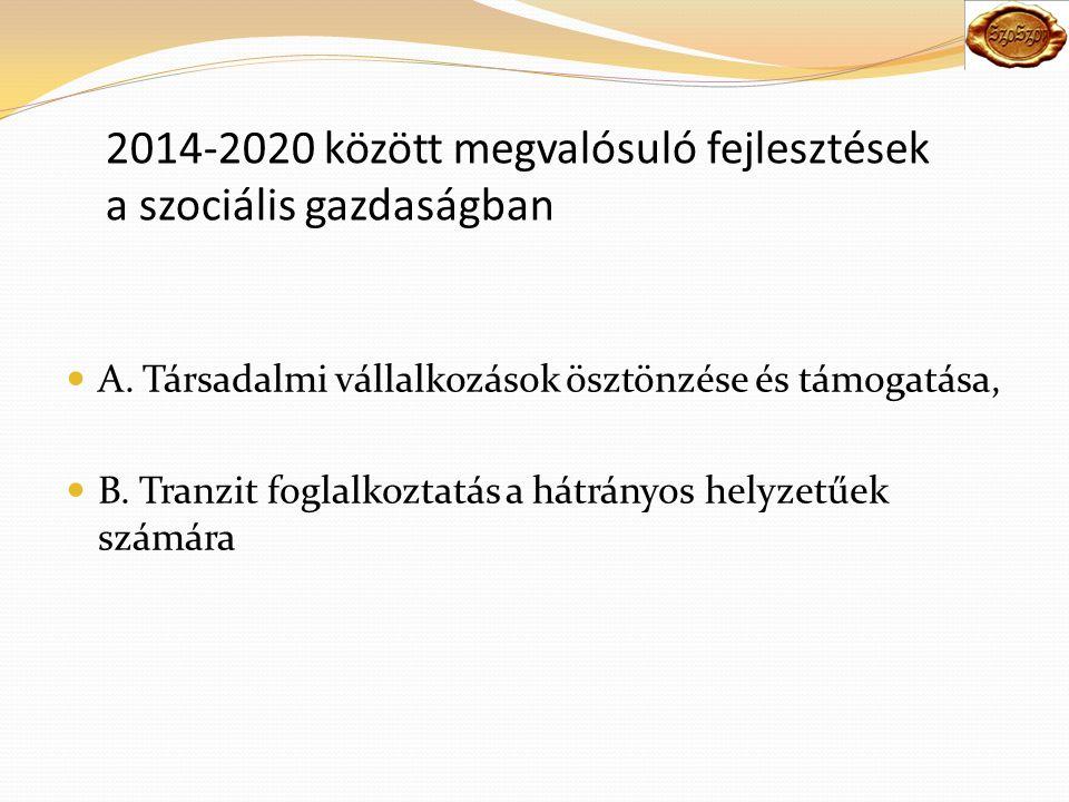 2014-2020 között megvalósuló fejlesztések a szociális gazdaságban A.