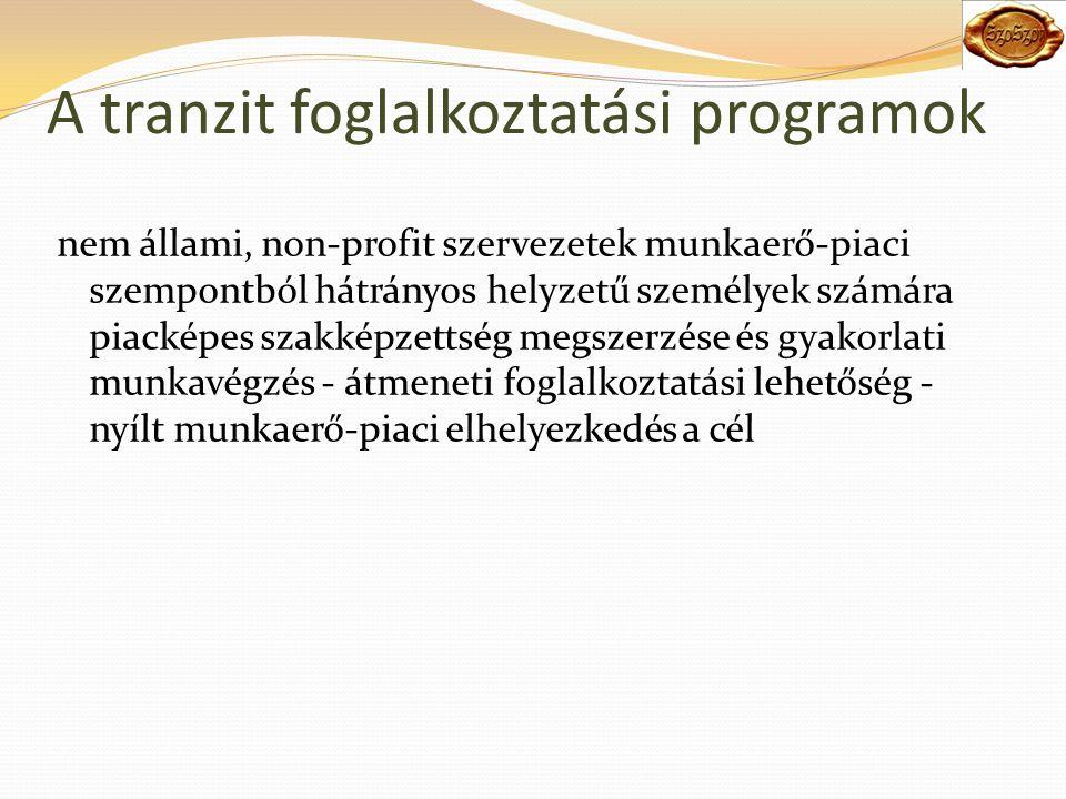A tranzit foglalkoztatási programok nem állami, non-profit szervezetek munkaerő-piaci szempontból hátrányos helyzetű személyek számára piacképes szakképzettség megszerzése és gyakorlati munkavégzés - átmeneti foglalkoztatási lehetőség - nyílt munkaerő-piaci elhelyezkedés a cél