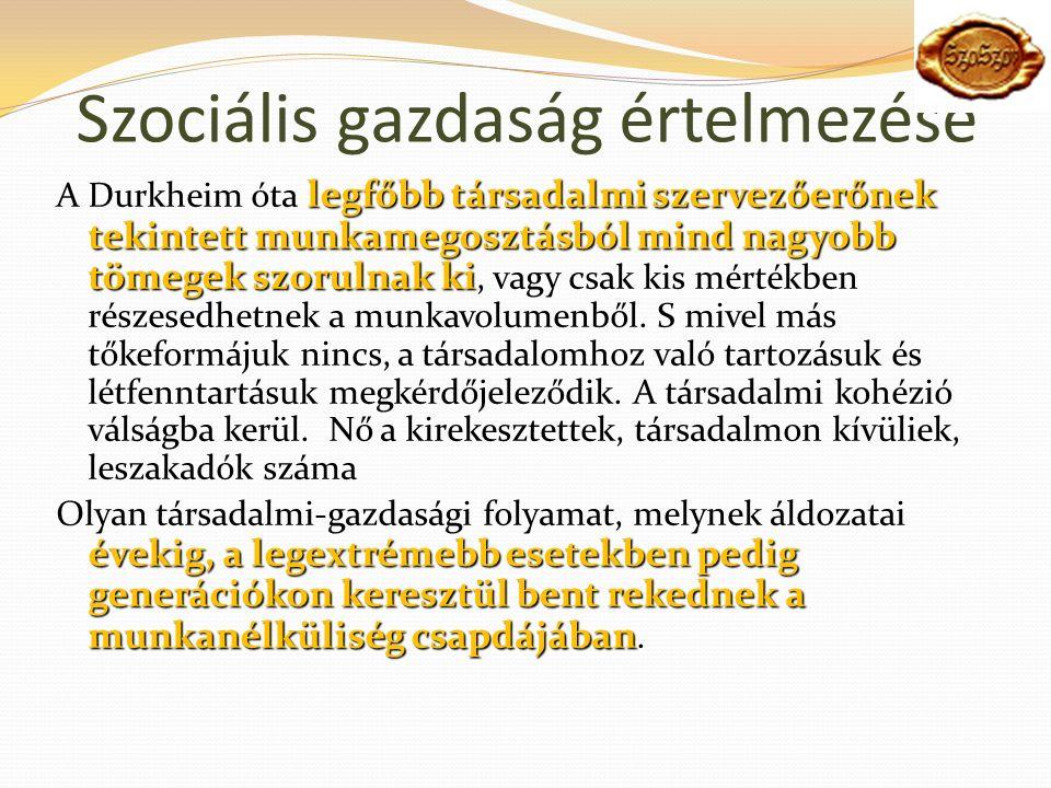 Szociális gazdaság értelmezése legfőbb társadalmi szervezőerőnek tekintett munkamegosztásból mind nagyobb tömegek szorulnak ki A Durkheim óta legfőbb társadalmi szervezőerőnek tekintett munkamegosztásból mind nagyobb tömegek szorulnak ki, vagy csak kis mértékben részesedhetnek a munkavolumenből.