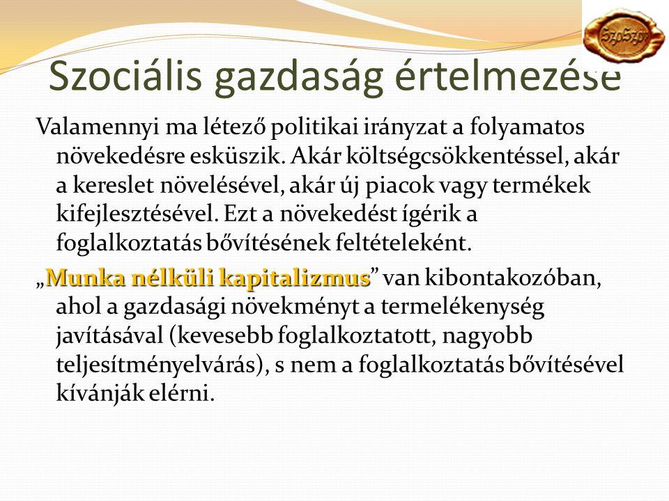 Szociális gazdaság értelmezése Valamennyi ma létező politikai irányzat a folyamatos növekedésre esküszik.