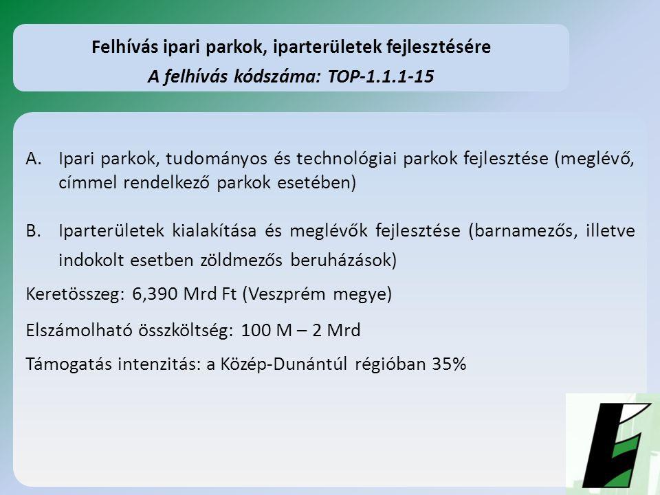 A.Ipari parkok, tudományos és technológiai parkok fejlesztése (meglévő, címmel rendelkező parkok esetében) B.Iparterületek kialakítása és meglévők fejlesztése (barnamezős, illetve indokolt esetben zöldmezős beruházások) Keretösszeg: 6,390 Mrd Ft (Veszprém megye) Elszámolható összköltség: 100 M – 2 Mrd Támogatás intenzitás: a Közép-Dunántúl régióban 35% Felhívás ipari parkok, iparterületek fejlesztésére A felhívás kódszáma: TOP-1.1.1-15