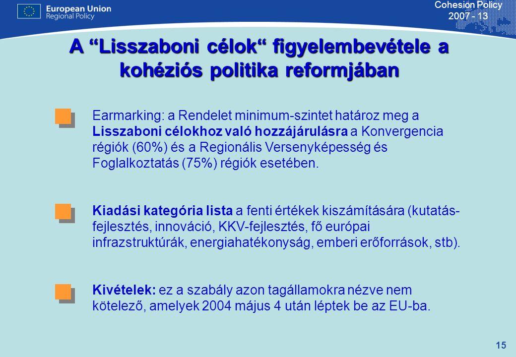 15 Cohesion Policy 2007 - 13 A Lisszaboni célok figyelembevétele a kohéziós politika reformjában Earmarking: a Rendelet minimum-szintet határoz meg a Lisszaboni célokhoz való hozzájárulásra a Konvergencia régiók (60%) és a Regionális Versenyképesség és Foglalkoztatás (75%) régiók esetében.