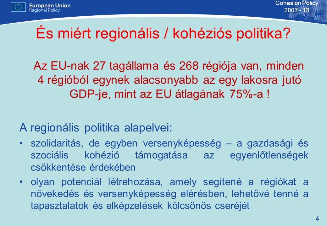5 Cohesion Policy 2007 - 13 Gazdasági, társadalmi, területi kohézió erősítése a kibővült Európa régiói, tagállamai közti fejlettségi különbségek csökkentése révén I.A EU kohéziós politika alakításában való közreműködés II.Pénzügyi alapok kezelése: –Európai Regionális Fejlesztési Alap –Kohéziós Alap –ISPA előcsatlakozási alap –Európai Szolidaritási Alap A Regionális Politika Főigazgatóság küldetése