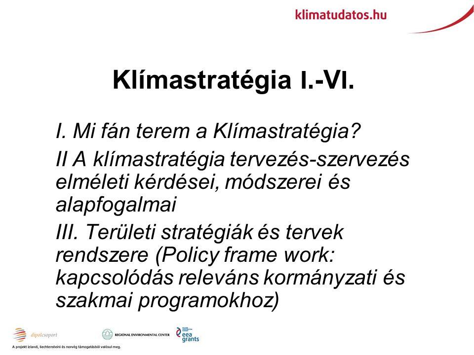Klímastratégia I. -V I. I. Mi fán terem a Klímastratégia.