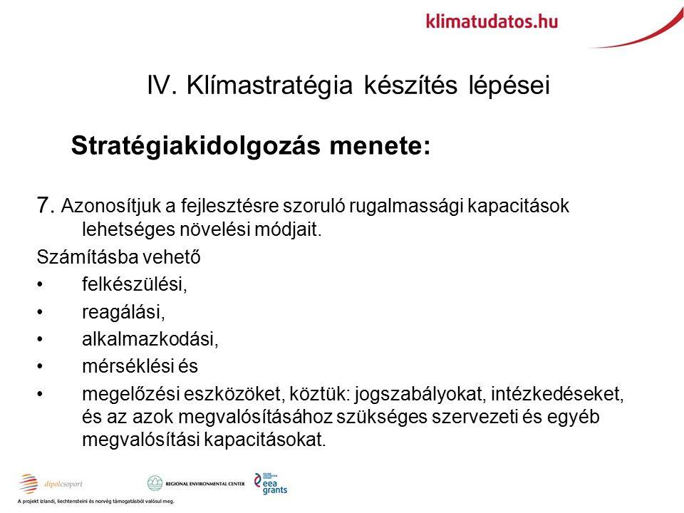IV. Klímastratégia készítés lépései Stratégiakidolgozás menete: 7.