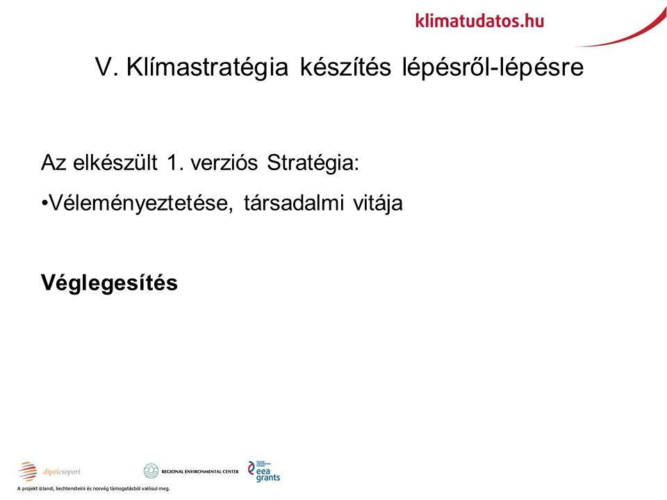 V. Klímastratégia készítés lépésről-lépésre Az elkészült 1.
