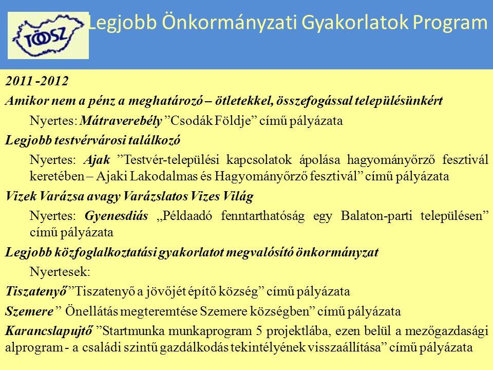 Legjobb Önkormányzati Gyakorlatok Program 2010 – 2011 Helyi önkormányzati kommunikáció Nyertes: Budapest Főváros XIII.