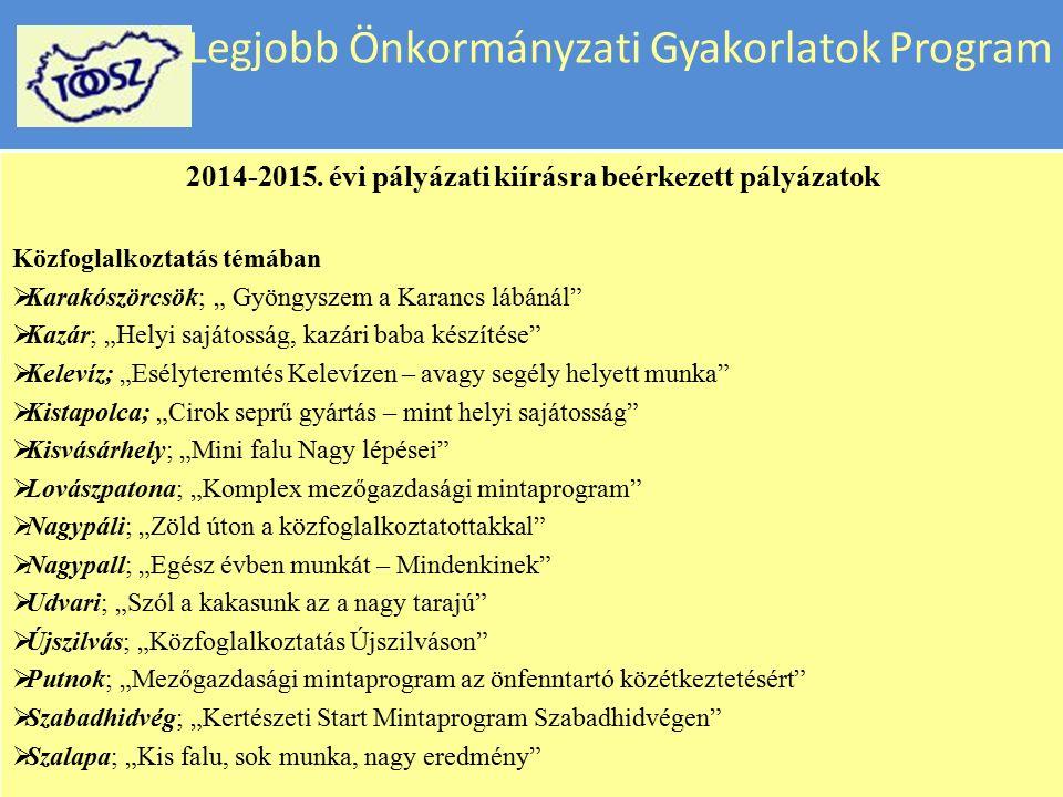 """Legjobb Önkormányzati Gyakorlatok Program 2014-2015. évi pályázati kiírásra beérkezett pályázatok Közfoglalkoztatás témában  Ajak; """"Ajak a fejlődés ú"""