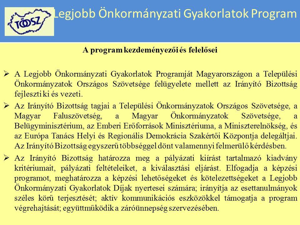 Legjobb Önkormányzati Gyakorlatok Program A Példát átadó gyakorlatok pályázatát – a Legjobb Önkormányzati Gyakorlatok Programját a Települési Önkormányzatok Országos Szövetsége az Európa Tanács Önkormányzati Reformok Szakértői Központjának együttműködésével hirdeti meg 2008 óta.