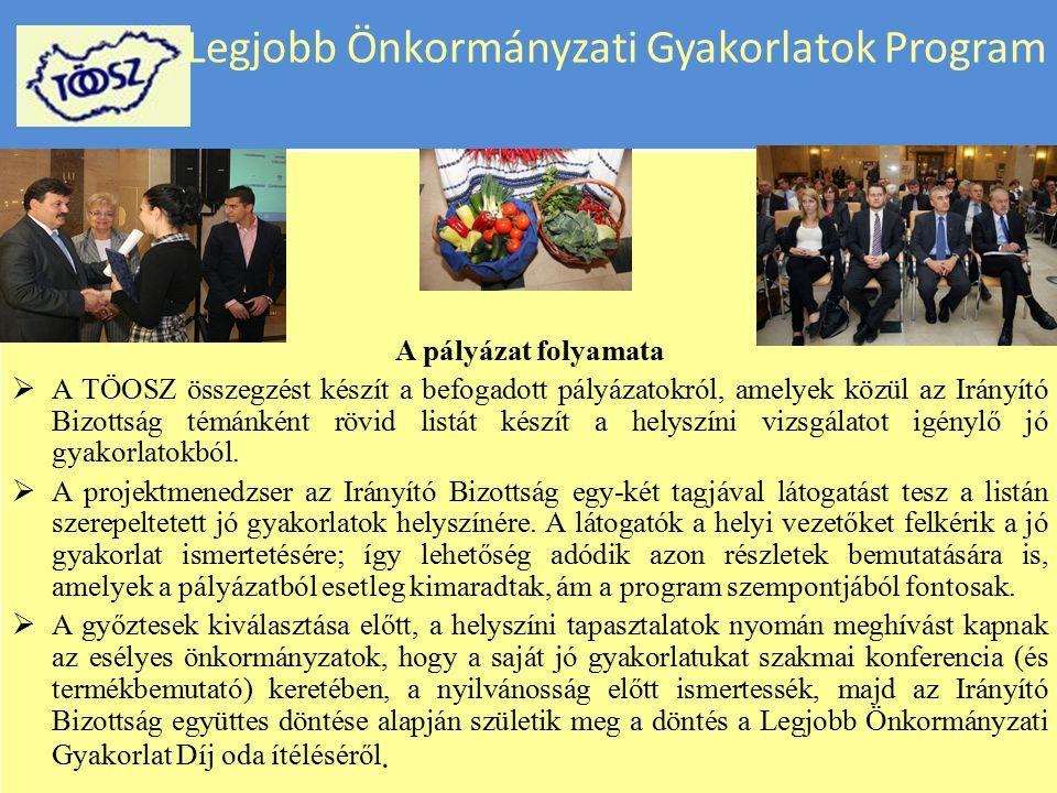 Legjobb Önkormányzati Gyakorlatok Program A program kezdeményezői és felelősei  A Legjobb Önkormányzati Gyakorlatok Programját Magyarországon a Települési Önkormányzatok Országos Szövetsége felügyelete mellett az Irányító Bizottság fejleszti ki és vezeti.