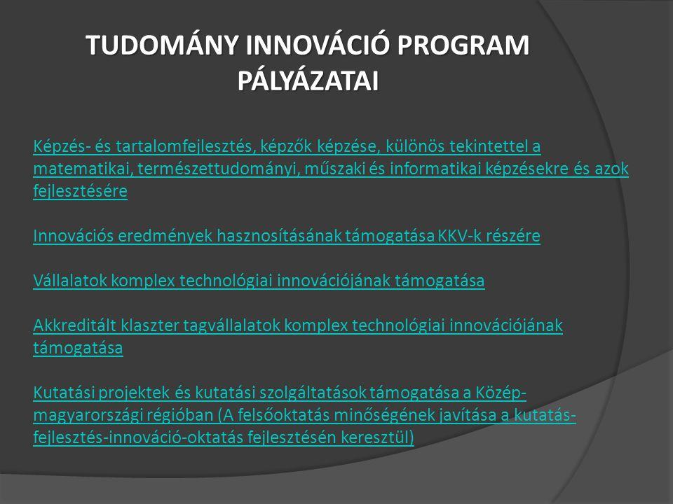 TUDOMÁNY INNOVÁCIÓ PROGRAM PÁLYÁZATAI Képzés- és tartalomfejlesztés, képzők képzése, különös tekintettel a matematikai, természettudományi, műszaki és informatikai képzésekre és azok fejlesztésére Innovációs eredmények hasznosításának támogatása KKV-k részére Vállalatok komplex technológiai innovációjának támogatása Akkreditált klaszter tagvállalatok komplex technológiai innovációjának támogatása Kutatási projektek és kutatási szolgáltatások támogatása a Közép- magyarországi régióban (A felsőoktatás minőségének javítása a kutatás- fejlesztés-innováció-oktatás fejlesztésén keresztül)
