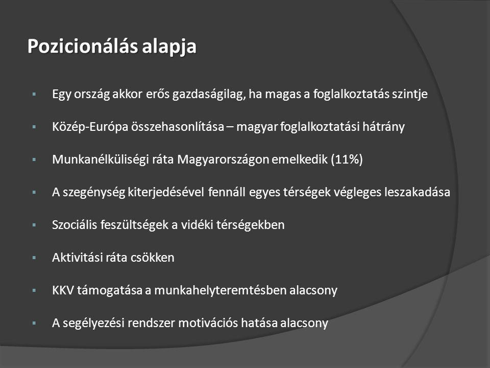 Pozicionálás alapja  Egy ország akkor erős gazdaságilag, ha magas a foglalkoztatás szintje  Közép-Európa összehasonlítása – magyar foglalkoztatási hátrány  Munkanélküliségi ráta Magyarországon emelkedik (11%)  A szegénység kiterjedésével fennáll egyes térségek végleges leszakadása  Szociális feszültségek a vidéki térségekben  Aktivitási ráta csökken  KKV támogatása a munkahelyteremtésben alacsony  A segélyezési rendszer motivációs hatása alacsony