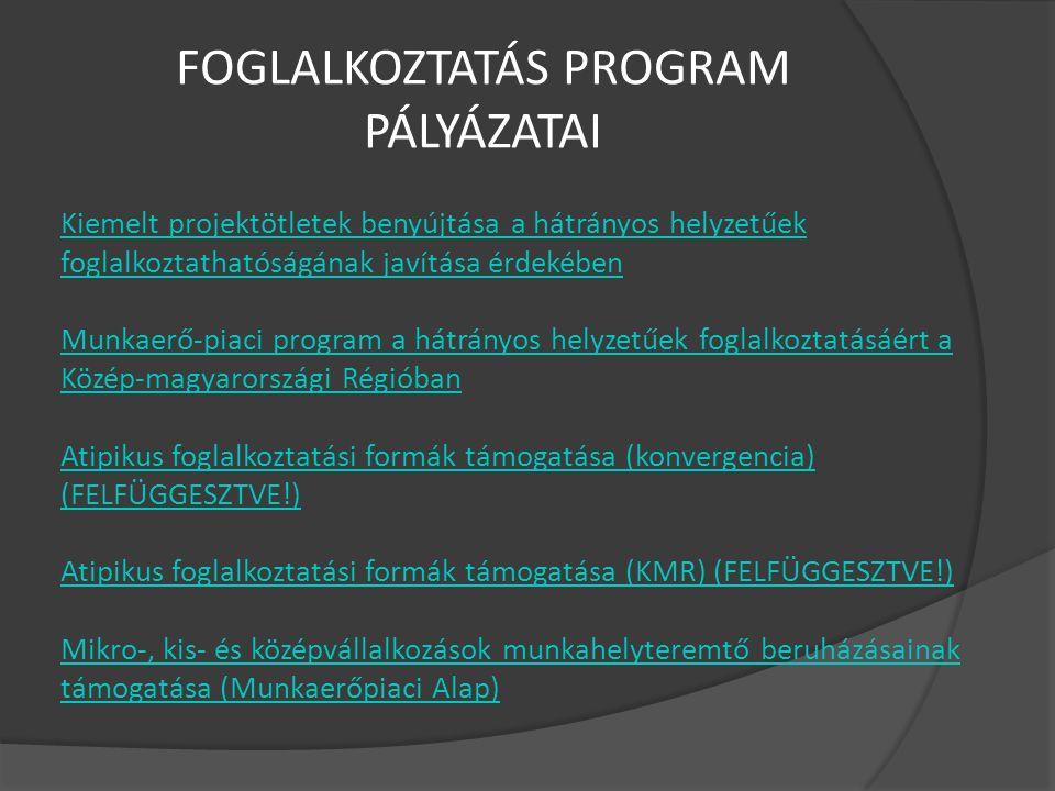 FOGLALKOZTATÁS PROGRAM PÁLYÁZATAI Kiemelt projektötletek benyújtása a hátrányos helyzetűek foglalkoztathatóságának javítása érdekében Munkaerő-piaci program a hátrányos helyzetűek foglalkoztatásáért a Közép-magyarországi Régióban Atipikus foglalkoztatási formák támogatása (konvergencia) (FELFÜGGESZTVE!) Atipikus foglalkoztatási formák támogatása (KMR) (FELFÜGGESZTVE!) Mikro-, kis- és középvállalkozások munkahelyteremtő beruházásainak támogatása (Munkaerőpiaci Alap)