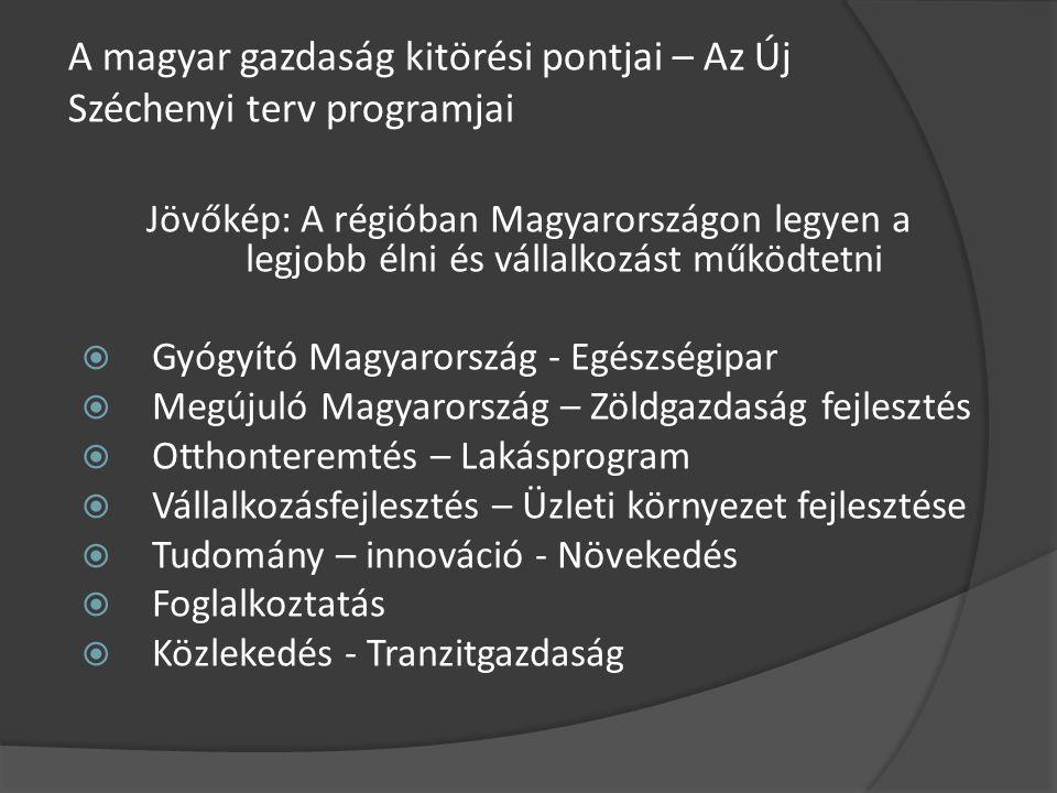 A magyar gazdaság kitörési pontjai – Az Új Széchenyi terv programjai Jövőkép: A régióban Magyarországon legyen a legjobb élni és vállalkozást működtetni  Gyógyító Magyarország - Egészségipar  Megújuló Magyarország – Zöldgazdaság fejlesztés  Otthonteremtés – Lakásprogram  Vállalkozásfejlesztés – Üzleti környezet fejlesztése  Tudomány – innováció - Növekedés  Foglalkoztatás  Közlekedés - Tranzitgazdaság