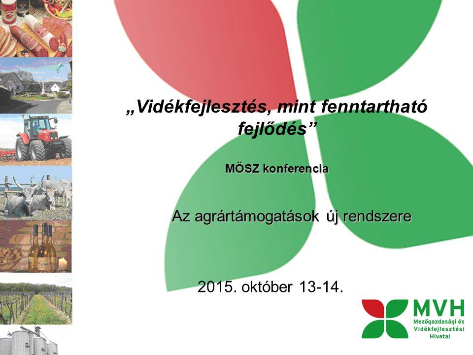 """""""Vidékfejlesztés, mint fenntartható fejlődés MÖSZ konferencia Az agrártámogatások új rendszere 2015."""
