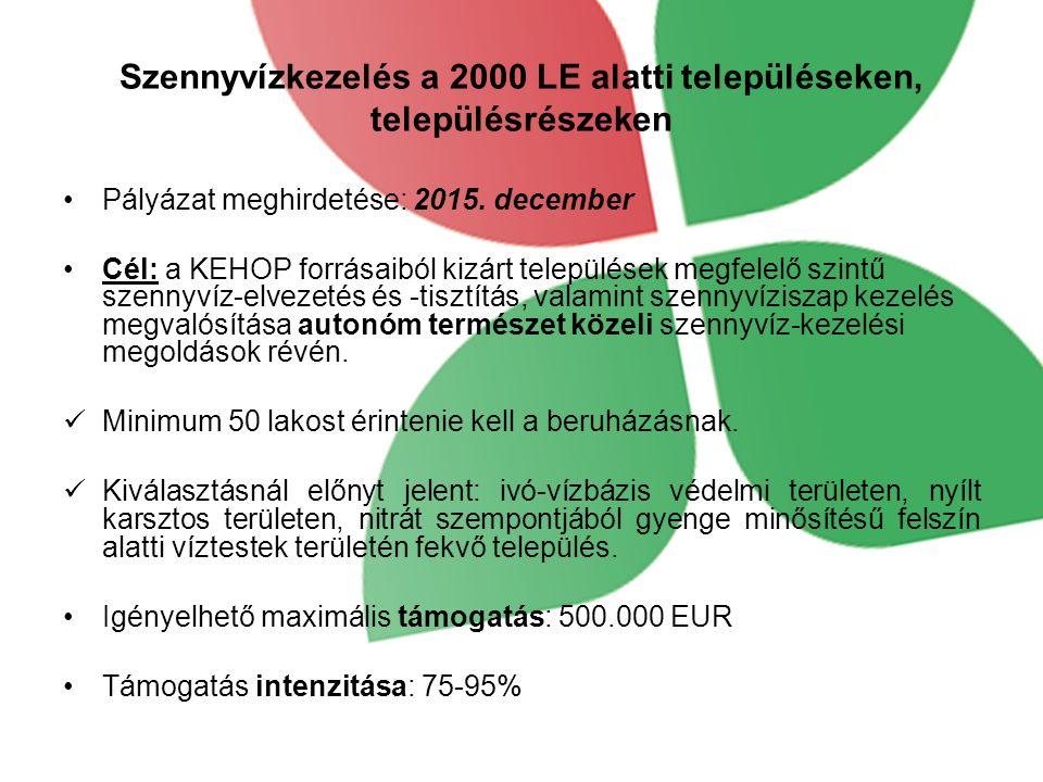 Szennyvízkezelés a 2000 LE alatti településeken, településrészeken Pályázat meghirdetése: 2015.
