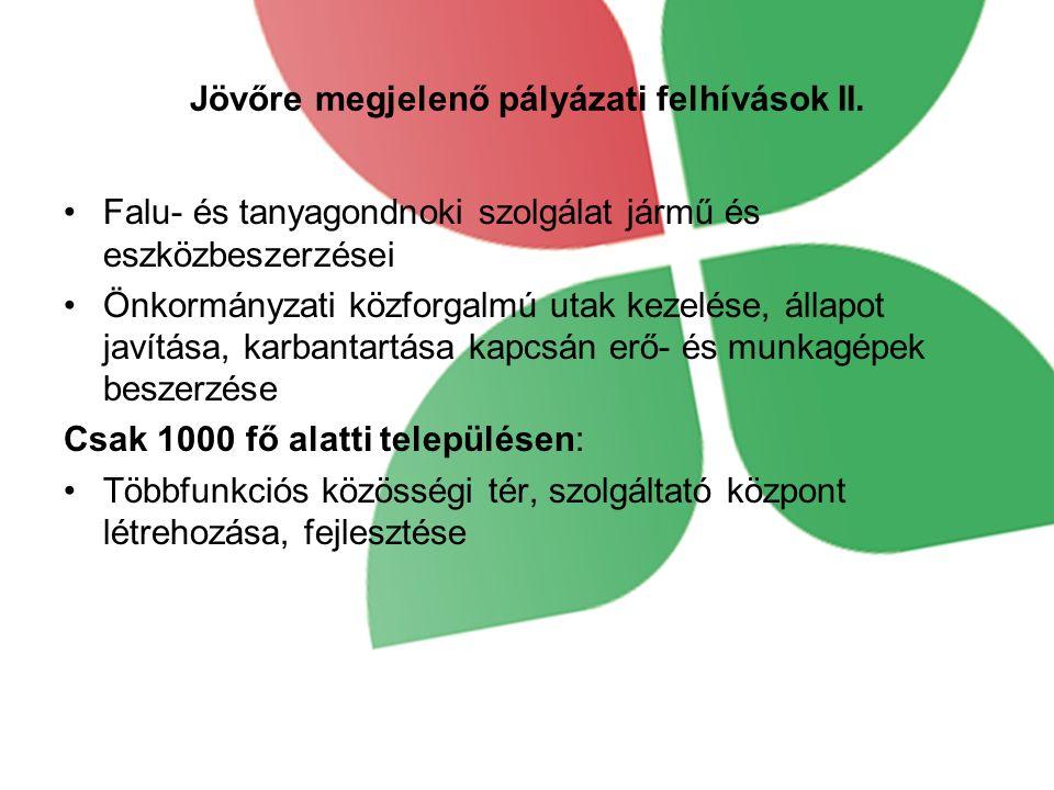 Jövőre megjelenő pályázati felhívások II.