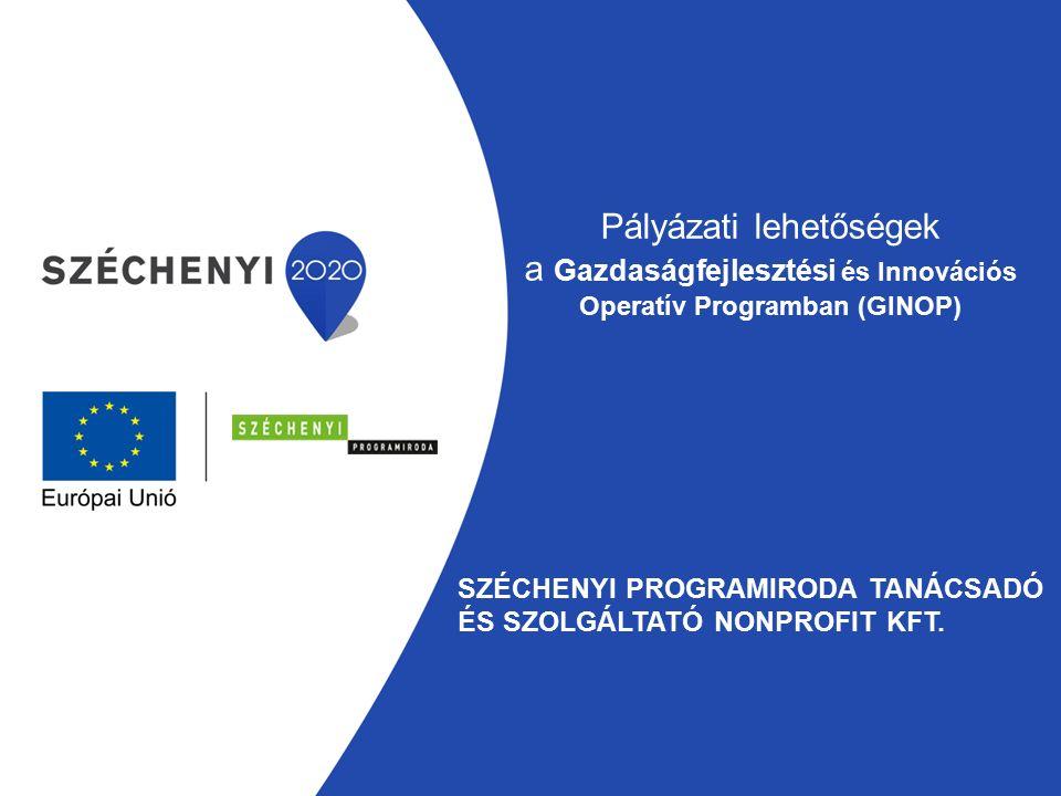 Pályázati lehetőségek a Gazdaságfejlesztési és Innovációs Operatív Programban (GINOP) SZÉCHENYI PROGRAMIRODA TANÁCSADÓ ÉS SZOLGÁLTATÓ NONPROFIT KFT.