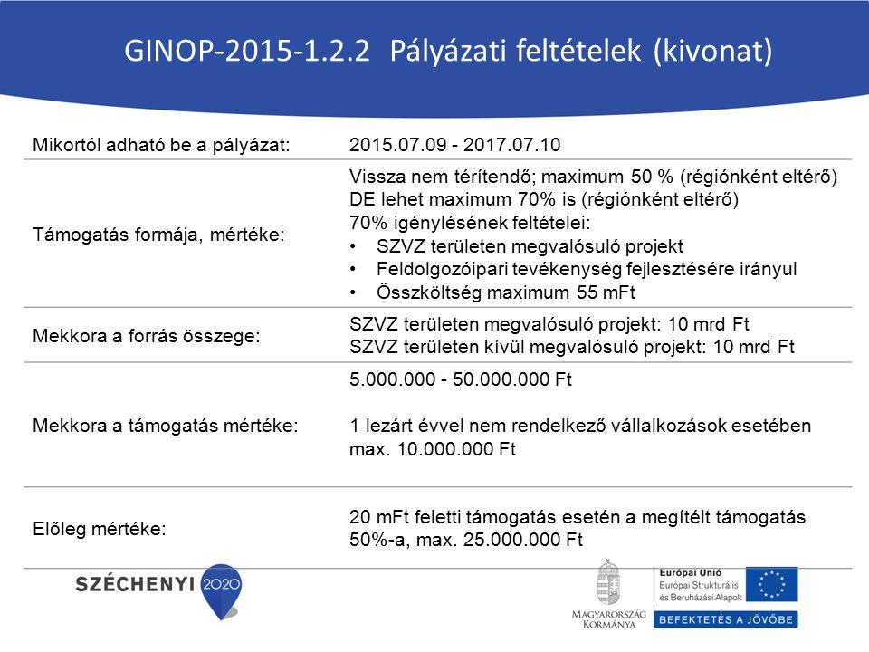 Mikortól adható be a pályázat:2015.07.09 - 2017.07.10 Támogatás formája, mértéke: Vissza nem térítendő; maximum 50 % (régiónként eltérő) DE lehet maximum 70% is (régiónként eltérő) 70% igénylésének feltételei: SZVZ területen megvalósuló projekt Feldolgozóipari tevékenység fejlesztésére irányul Összköltség maximum 55 mFt Mekkora a forrás összege: SZVZ területen megvalósuló projekt: 10 mrd Ft SZVZ területen kívül megvalósuló projekt: 10 mrd Ft Mekkora a támogatás mértéke: 5.000.000 - 50.000.000 Ft 1 lezárt évvel nem rendelkező vállalkozások esetében max.