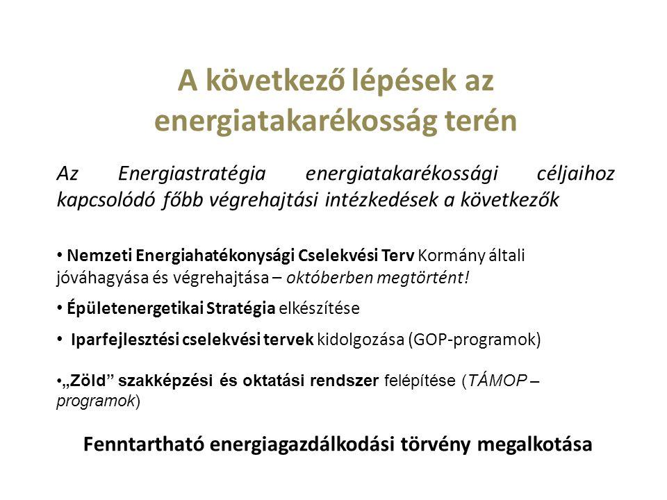 A következő lépések az energiatakarékosság terén Az Energiastratégia energiatakarékossági céljaihoz kapcsolódó főbb végrehajtási intézkedések a következők Nemzeti Energiahatékonysági Cselekvési Terv Kormány általi jóváhagyása és végrehajtása – októberben megtörtént.