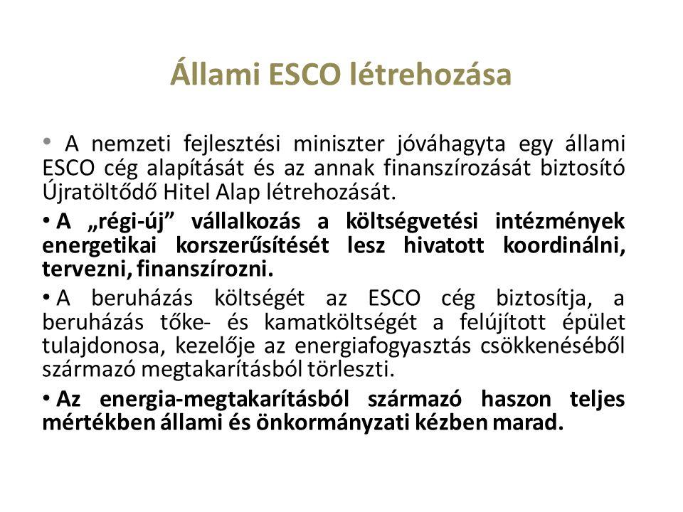 Állami ESCO létrehozása A nemzeti fejlesztési miniszter jóváhagyta egy állami ESCO cég alapítását és az annak finanszírozását biztosító Újratöltődő Hitel Alap létrehozását.