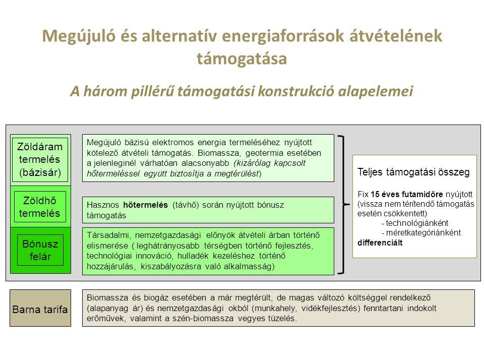 Megújuló és alternatív energiaforrások átvételének támogatása A három pillérű támogatási konstrukció alapelemei Teljes támogatási összeg Zöldáram termelés (bázisár) Zöldhő termelés Fix 15 éves futamidőre nyújtott (vissza nem térítendő támogatás esetén csökkentett) - technológiánként - méretkategóriánként differenciált Barna tarifa Biomassza és biogáz esetében a már megtérült, de magas változó költséggel rendelkező (alapanyag ár) és nemzetgazdasági okból (munkahely, vidékfejlesztés) fenntartani indokolt erőművek, valamint a szén-biomassza vegyes tüzelés.