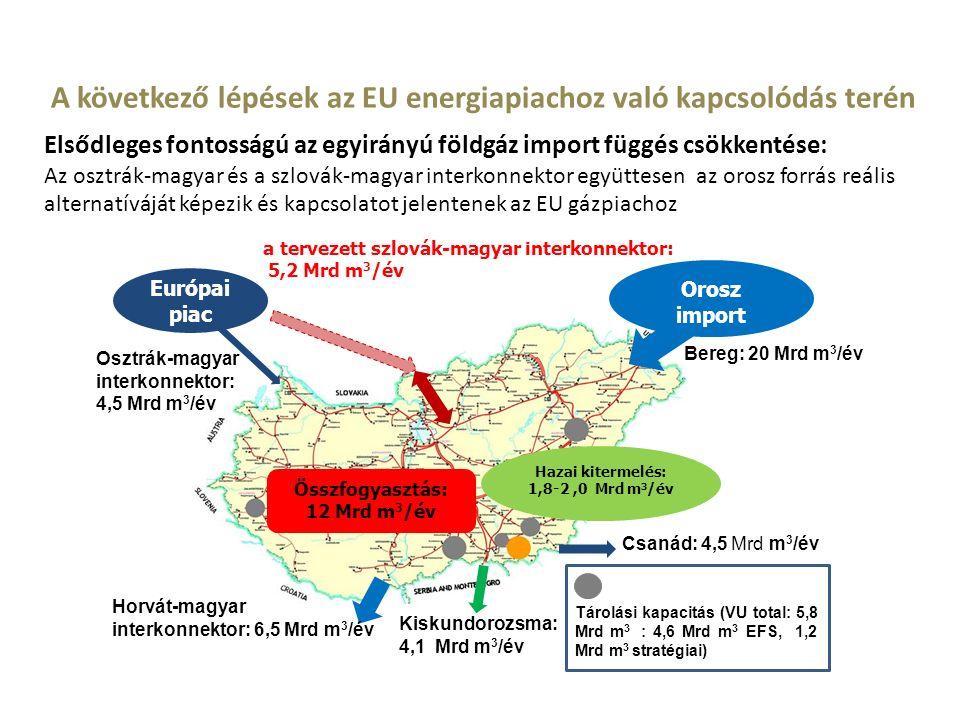 A következő lépések az EU energiapiachoz való kapcsolódás terén Elsődleges fontosságú az egyirányú földgáz import függés csökkentése: Az osztrák-magyar és a szlovák-magyar interkonnektor együttesen az orosz forrás reális alternatíváját képezik és kapcsolatot jelentenek az EU gázpiachoz Osztrák-magyar interkonnektor: 4,5 Mrd m 3 /év a tervezett szlovák-magyar interkonnektor: 5,2 Mrd m 3 /év Európai piac Orosz import Csanád: 4,5 Mrd m 3 /év Hazai kitermelés: 1,8-2,0 Mrd m 3 /év Összfogyasztás: 12 Mrd m 3 /év Bereg: 20 Mrd m 3 /év Horvát-magyar interkonnektor: 6,5 Mrd m 3 /év Kiskundorozsma: 4,1 Mrd m 3 /év Tárolási kapacitás (VU total: 5,8 Mrd m 3 : 4,6 Mrd m 3 EFS, 1,2 Mrd m 3 stratégiai)