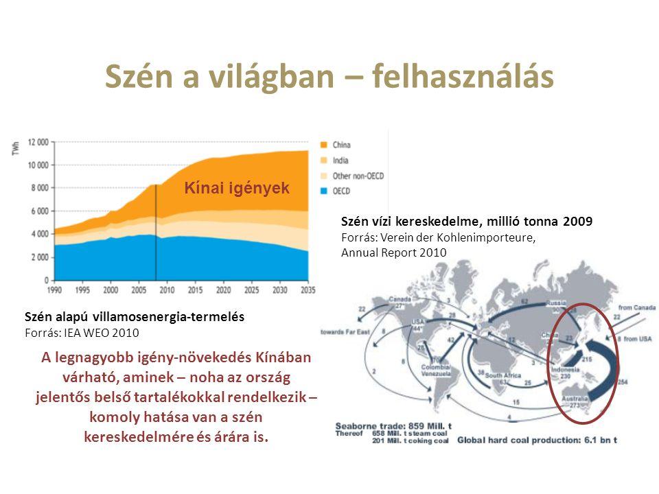 Szén a világban – felhasználás Szén alapú villamosenergia-termelés Forrás: IEA WEO 2010 A legnagyobb igény-növekedés Kínában várható, aminek – noha az ország jelentős belső tartalékokkal rendelkezik – komoly hatása van a szén kereskedelmére és árára is.