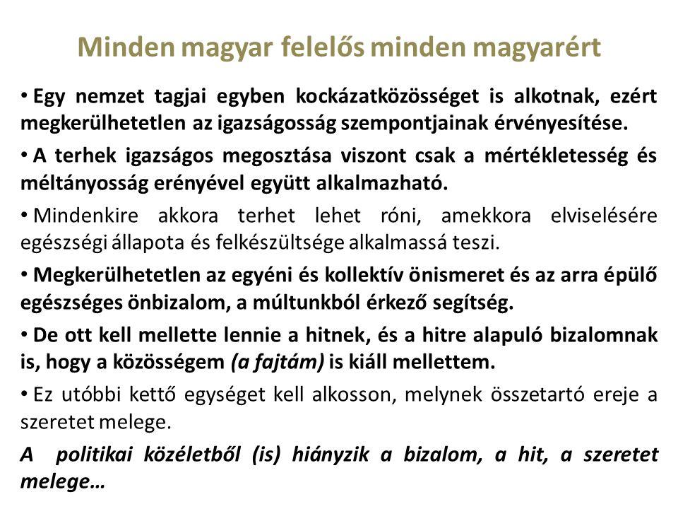 Minden magyar felelős minden magyarért Egy nemzet tagjai egyben kockázatközösséget is alkotnak, ezért megkerülhetetlen az igazságosság szempontjainak érvényesítése.