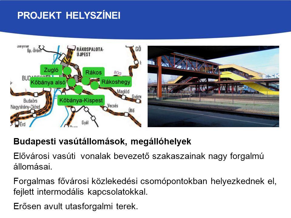 PROJEKT HELYSZÍNEI Budapesti vasútállomások, megállóhelyek Elővárosi vasúti vonalak bevezető szakaszainak nagy forgalmú állomásai.