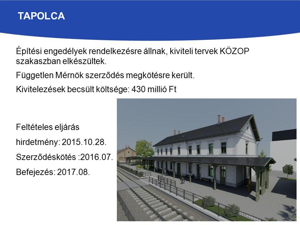 TAPOLCA Építési engedélyek rendelkezésre állnak, kiviteli tervek KÖZOP szakaszban elkészültek.