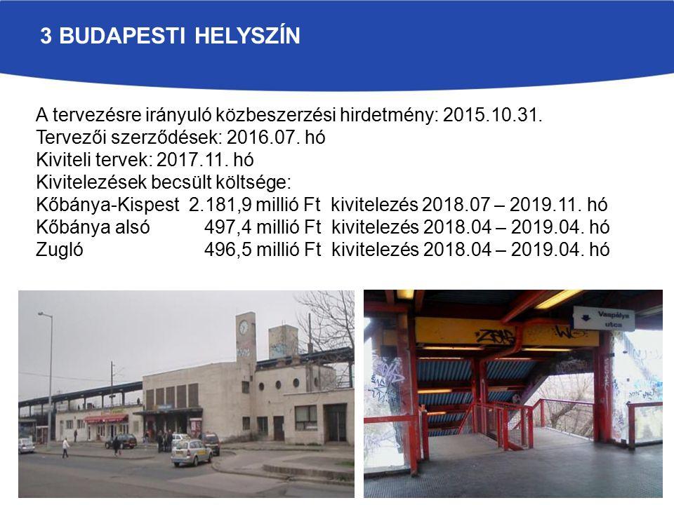 3 BUDAPESTI HELYSZÍN A tervezésre irányuló közbeszerzési hirdetmény: 2015.10.31.