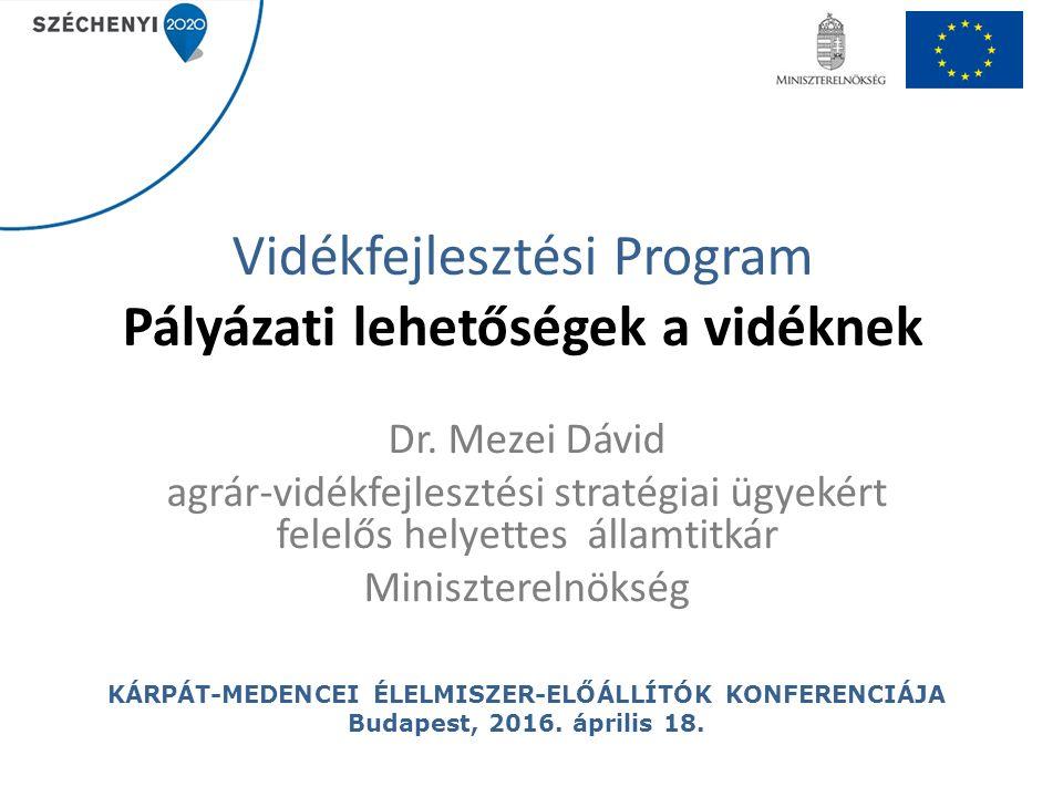 Vidékfejlesztési Program Pályázati lehetőségek a vidéknek Dr. Mezei Dávid agrár-vidékfejlesztési stratégiai ügyekért felelős helyettes államtitkár Min