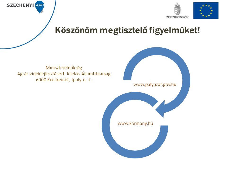 Köszönöm megtisztelő figyelmüket! www.palyazat.gov.hu www.kormany.hu Miniszterelnökség Agrár-vidékfejlesztésért felelős Államtitkárság 6000 Kecskemét,