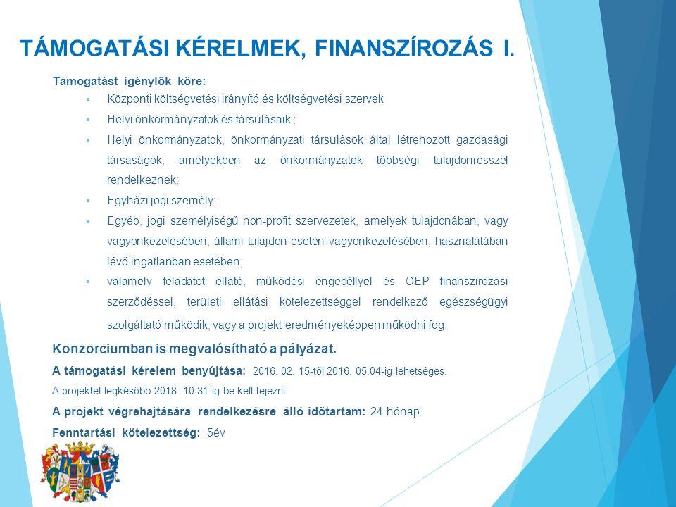 TÁMOGATÁSI KÉRELMEK, FINANSZÍROZÁS I. Támogatást igénylők köre:  Központi költségvetési irányító és költségvetési szervek  Helyi önkormányzatok és t