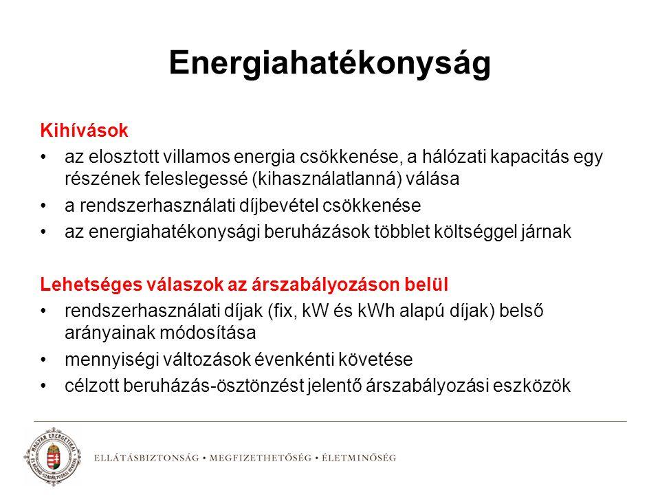 Energiahatékonyság Kihívások az elosztott villamos energia csökkenése, a hálózati kapacitás egy részének feleslegessé (kihasználatlanná) válása a rendszerhasználati díjbevétel csökkenése az energiahatékonysági beruházások többlet költséggel járnak Lehetséges válaszok az árszabályozáson belül rendszerhasználati díjak (fix, kW és kWh alapú díjak) belső arányainak módosítása mennyiségi változások évenkénti követése célzott beruházás-ösztönzést jelentő árszabályozási eszközök
