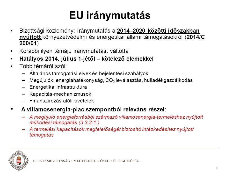 EU iránymutatás Bizottsági közlemény: Iránymutatás a 2014–2020 közötti időszakban nyújtott környezetvédelmi és energetikai állami támogatásokról (2014/C 200/01) Korábbi ilyen témájú iránymutatást váltotta Hatályos 2014.