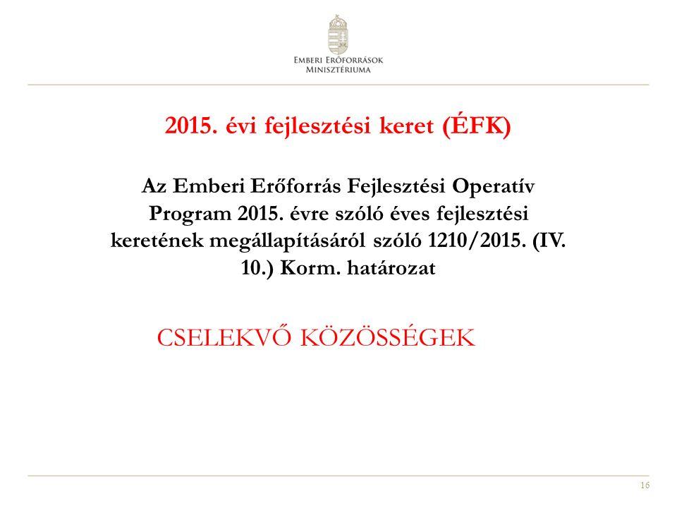 16 2015. évi fejlesztési keret (ÉFK) Az Emberi Erőforrás Fejlesztési Operatív Program 2015. évre szóló éves fejlesztési keretének megállapításáról szó