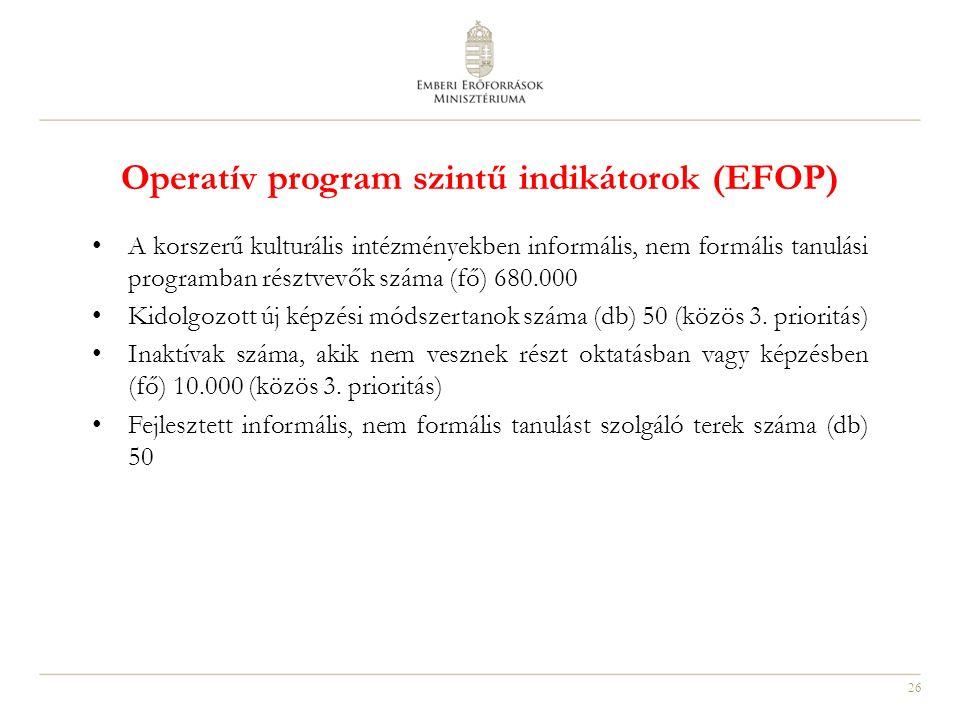 26 Operatív program szintű indikátorok (EFOP) A korszerű kulturális intézményekben informális, nem formális tanulási programban résztvevők száma (fő)