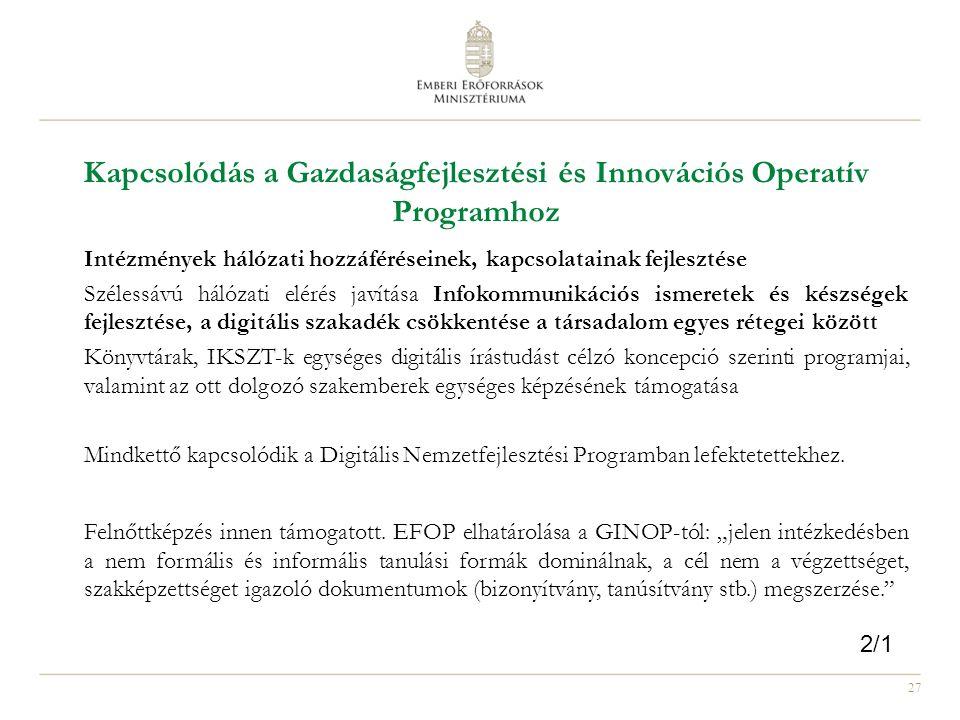 27 Kapcsolódás a Gazdaságfejlesztési és Innovációs Operatív Programhoz Intézmények hálózati hozzáféréseinek, kapcsolatainak fejlesztése Szélessávú hál